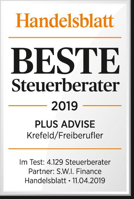 Handelsblatt Beste Steuerberater Plus Advise 2019